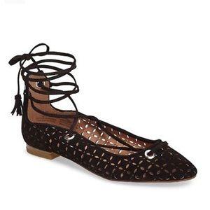 Halogen Lace Up Ballet Flats Sandals Laser Leather